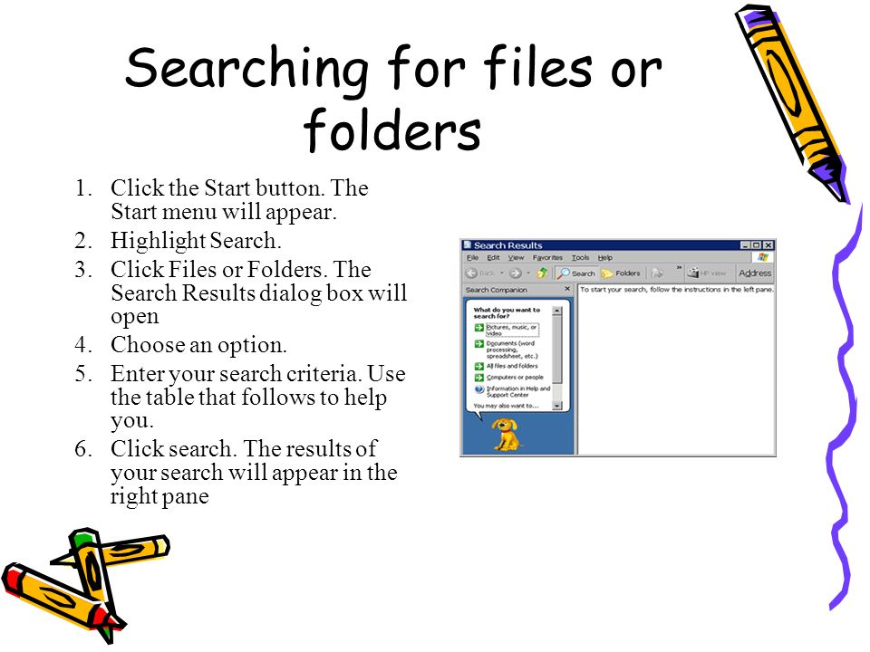Searching for files or folders