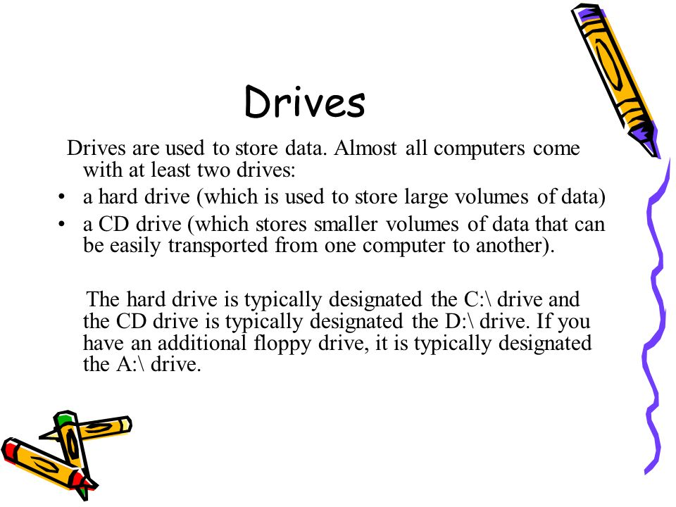 Drives a hard drive (which is used to store large volumes of data)