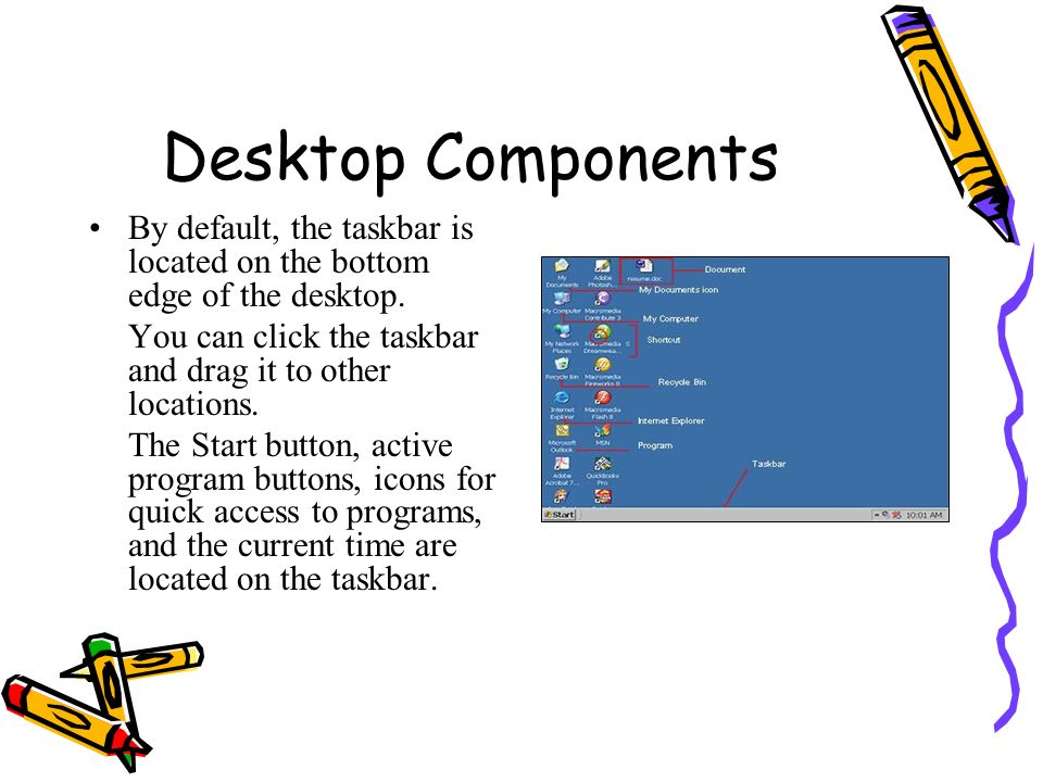 Desktop Components By default, the taskbar is located on the bottom edge of the desktop. You can click the taskbar and drag it to other locations.