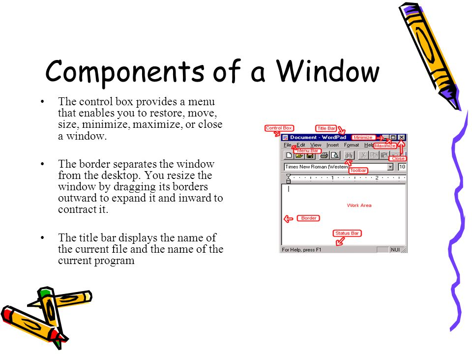 Components of a Window The control box provides a menu that enables you to restore, move, size, minimize, maximize, or close a window.