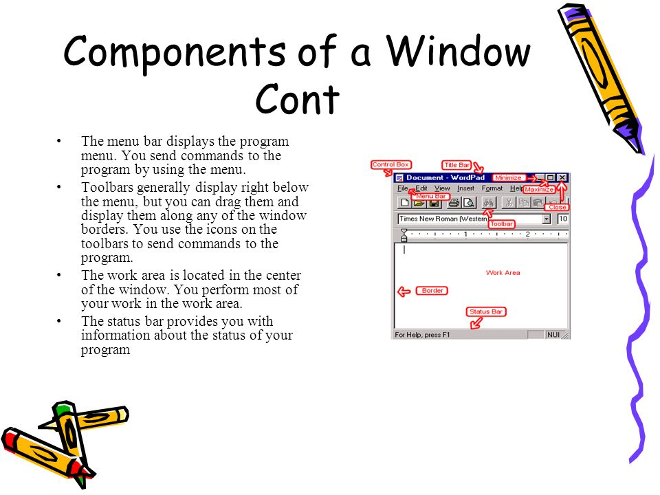 Components of a Window Cont
