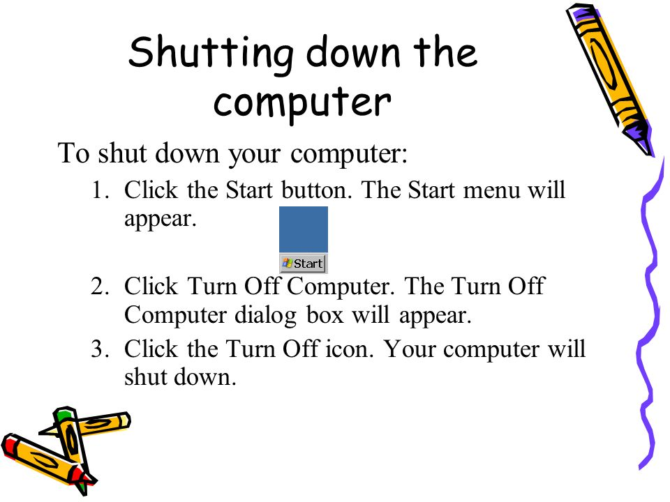 Shutting down the computer