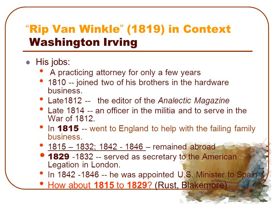 washington irving rip van winkle