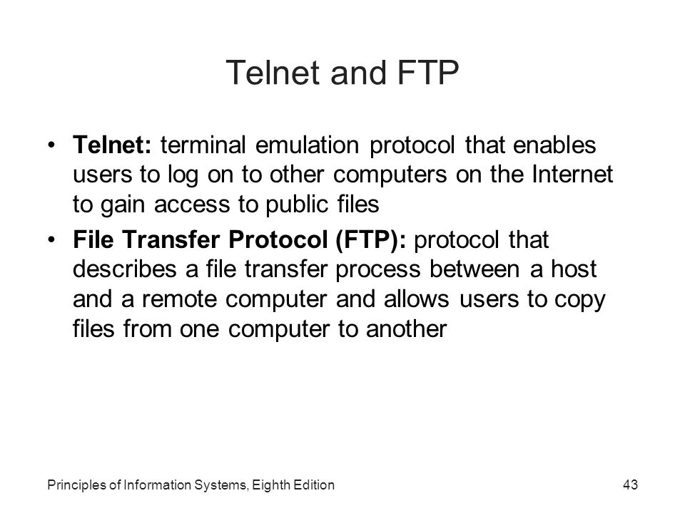 distinguish between ftp and telnet protocols Telnet, ftp, ssh and scp in this a protocol is a set of agreements between persons or like telnet, the communication between the two computers is un.