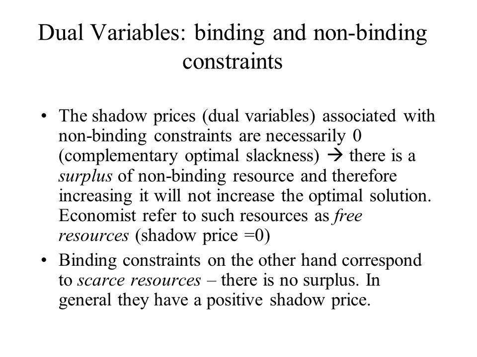 Non binding constraint on resource coupons