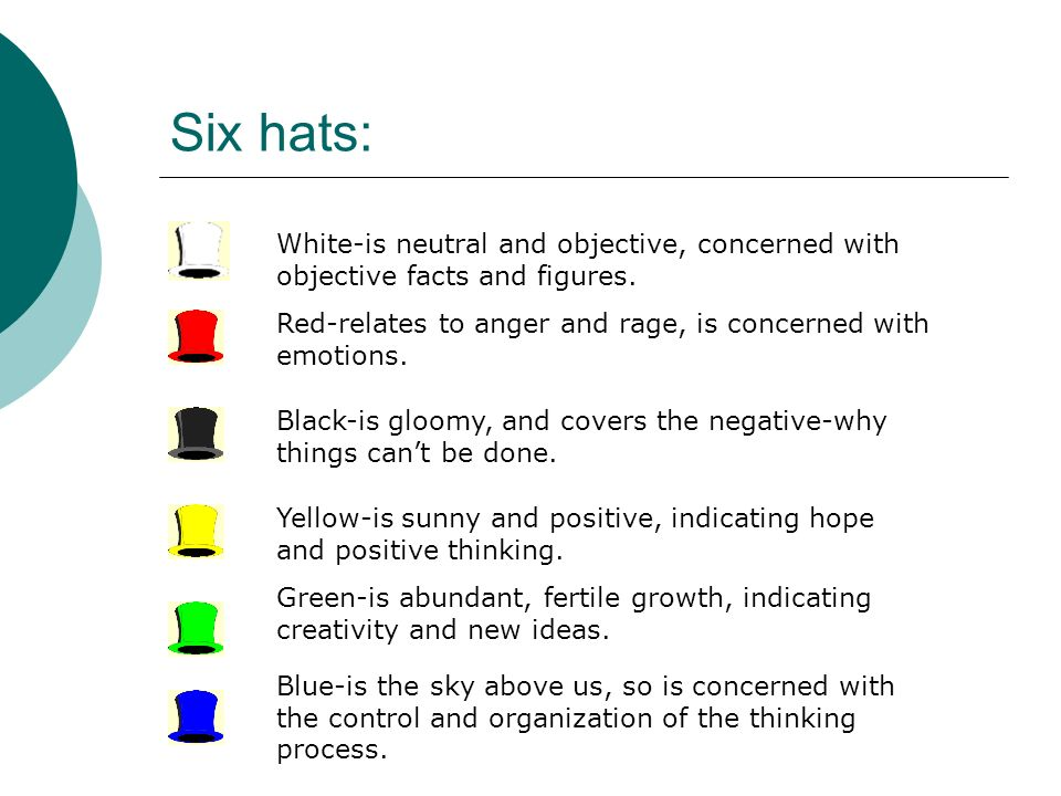 Six hats: White-is neutral and objective, concerned with objective facts and figures. Red-relates to anger and rage, is concerned with emotions.