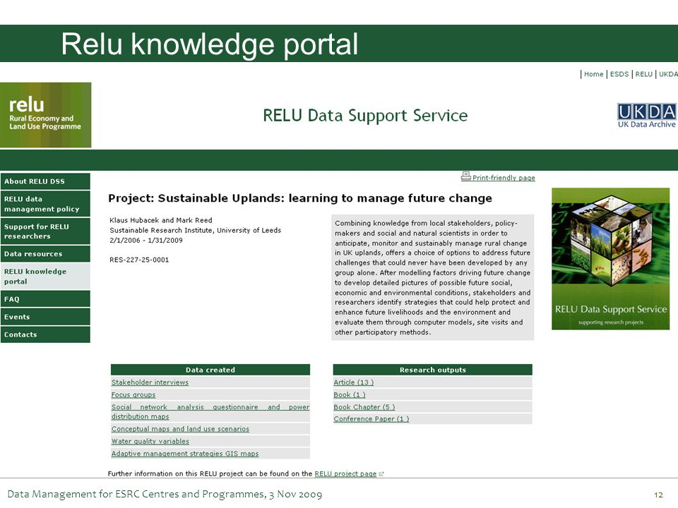 Relu knowledge portal Data Management for ESRC Centres and Programmes, 3 Nov 2009