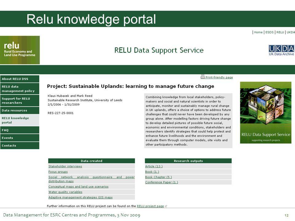 Relu knowledge portal Data Management for ESRC Centres and Programmes, 3 Nov 2009