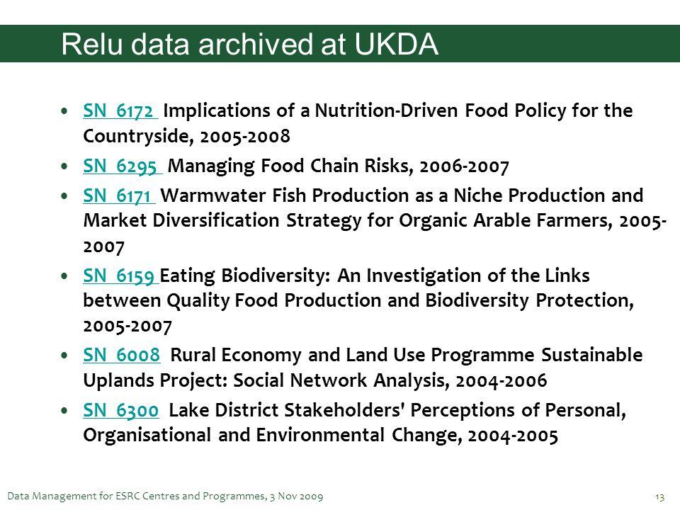 Relu data archived at UKDA