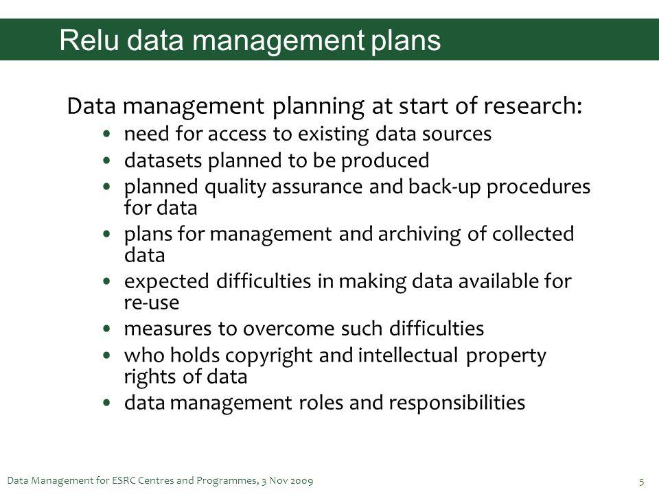 Relu data management plans