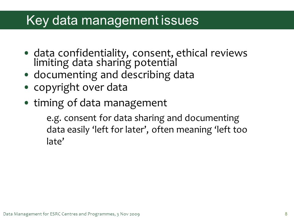 Key data management issues
