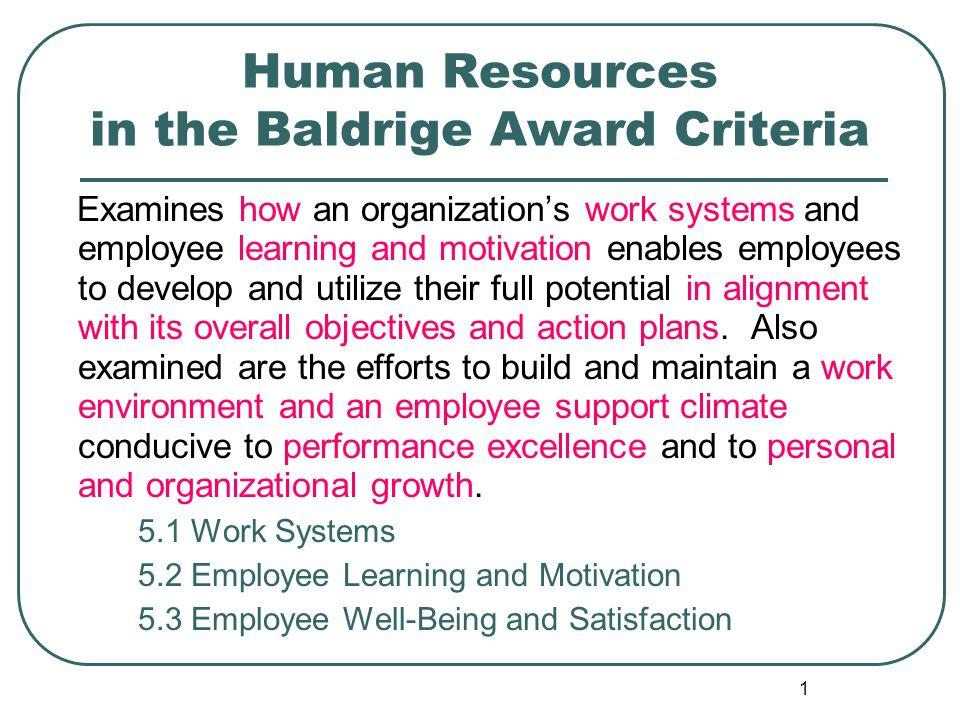 Human Resources in the Baldrige Award Criteria