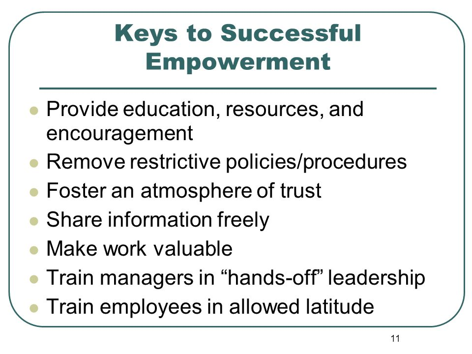 Keys to Successful Empowerment