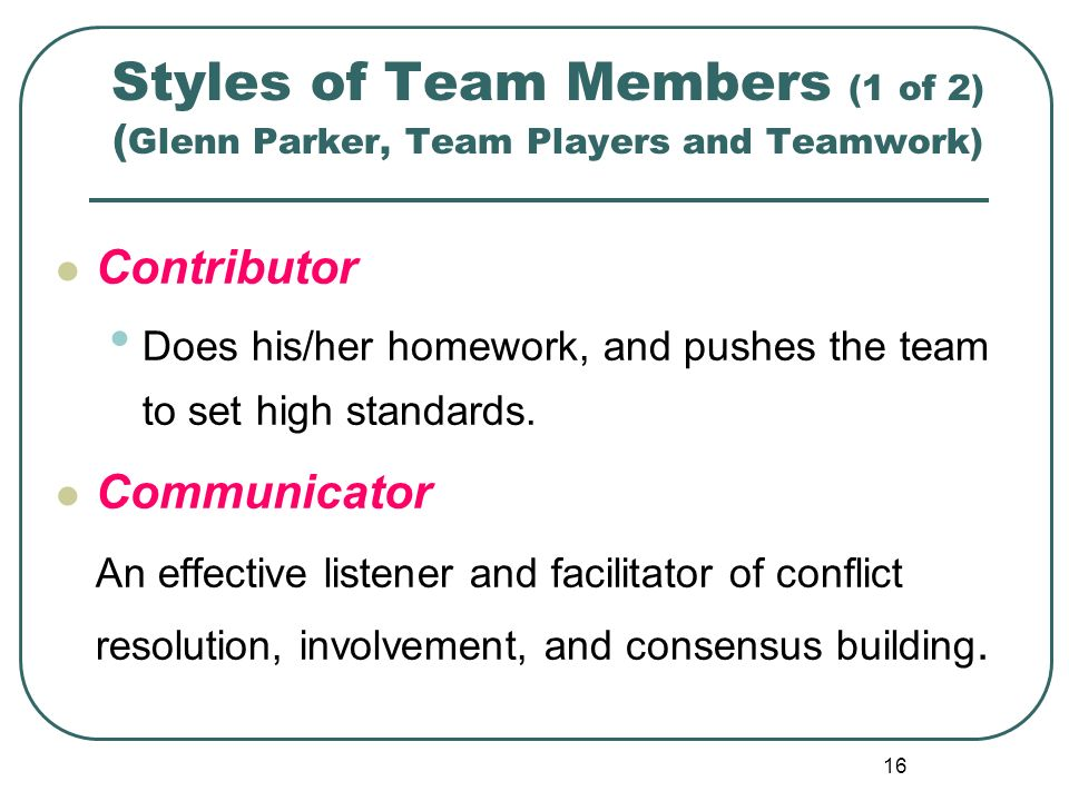 Styles of Team Members (1 of 2) (Glenn Parker, Team Players and Teamwork)