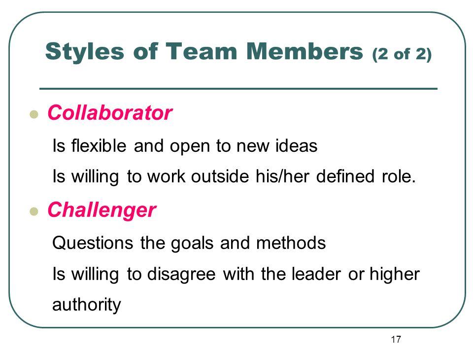 Styles of Team Members (2 of 2)