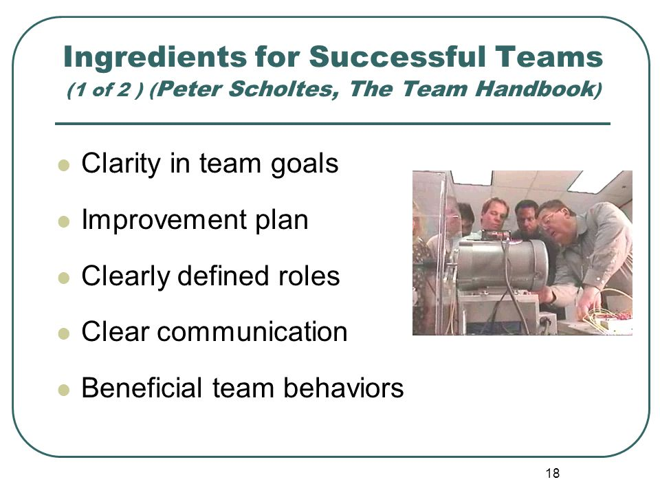 Ingredients for Successful Teams (1 of 2 ) (Peter Scholtes, The Team Handbook)