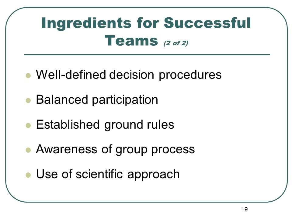Ingredients for Successful Teams (2 of 2)
