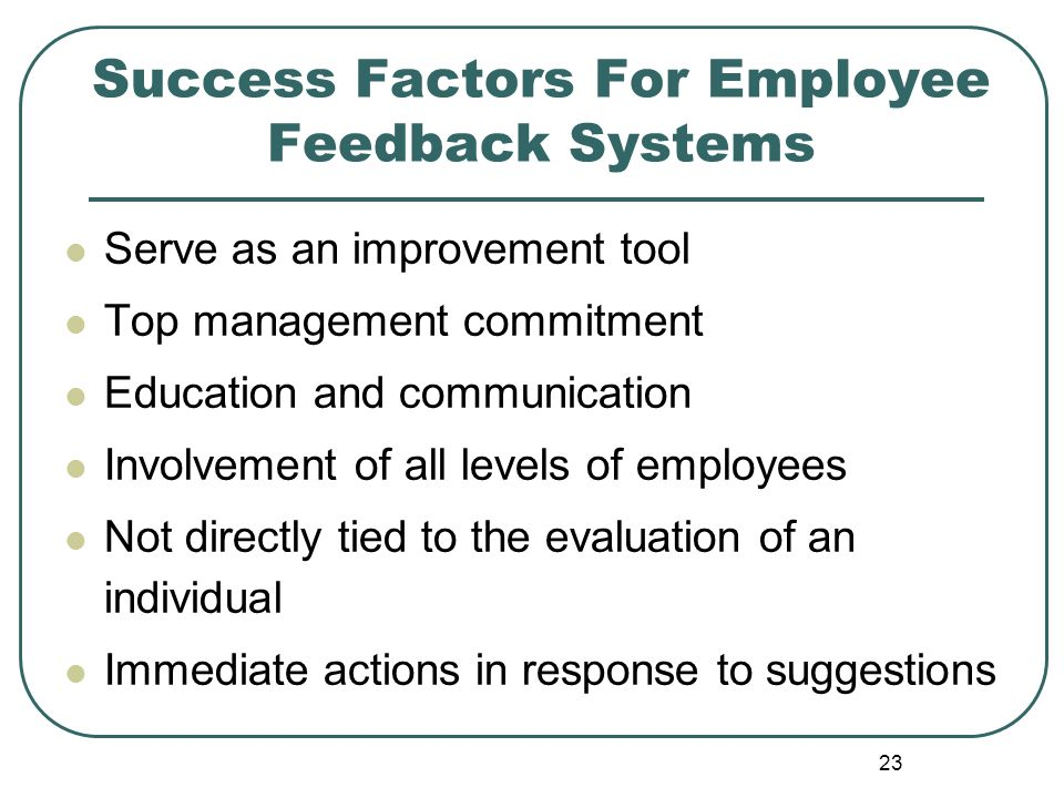 Success Factors For Employee Feedback Systems