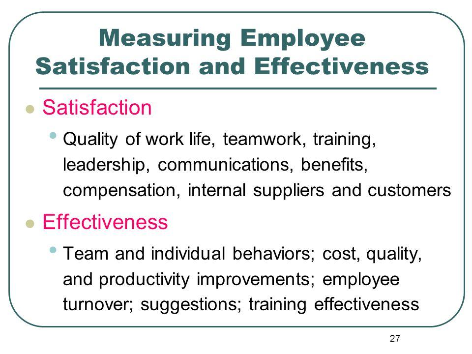 Measuring Employee Satisfaction and Effectiveness