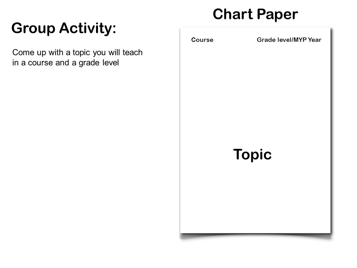Chart Paper Group Activity: Topic