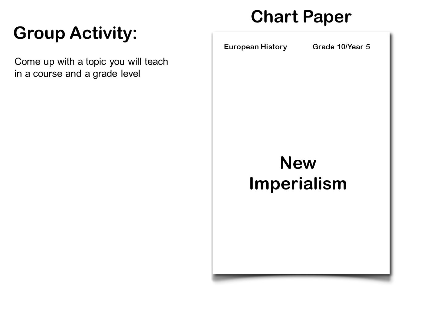 Chart Paper Group Activity: New Imperialism