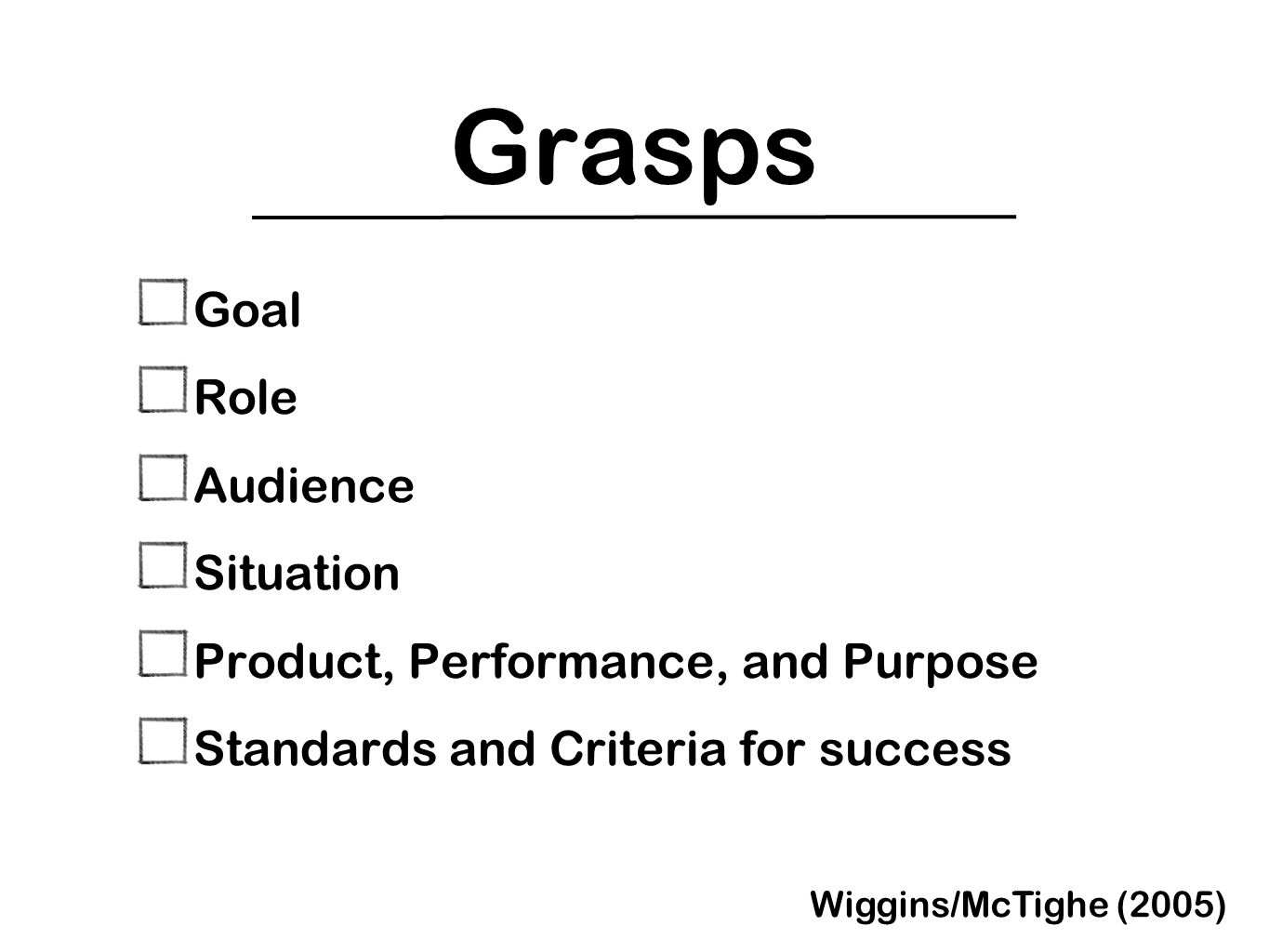 Grasps Goal Role Audience Situation Product, Performance, and Purpose