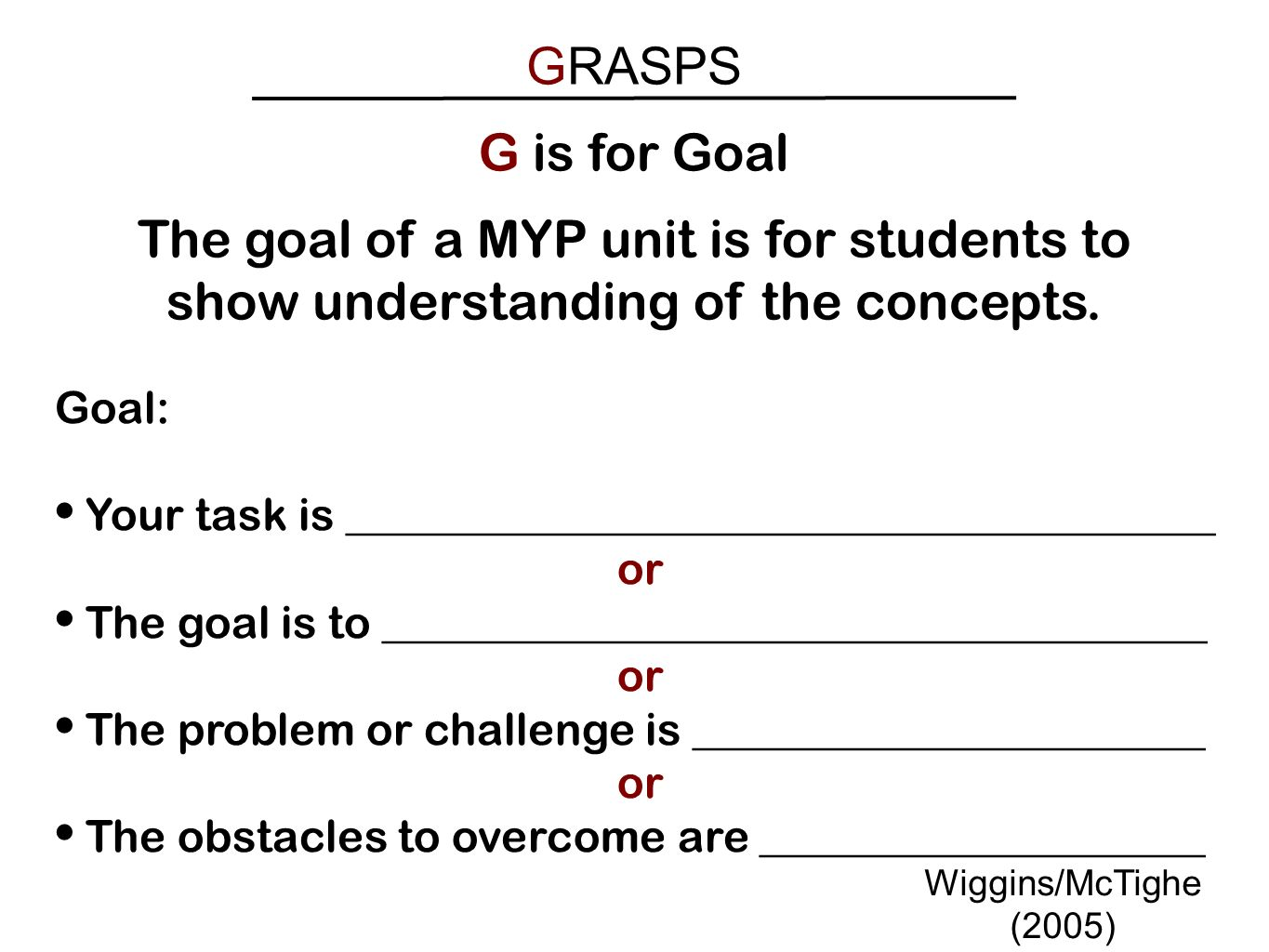 GRASPS G is for Goal. The goal of a MYP unit is for students to show understanding of the concepts.