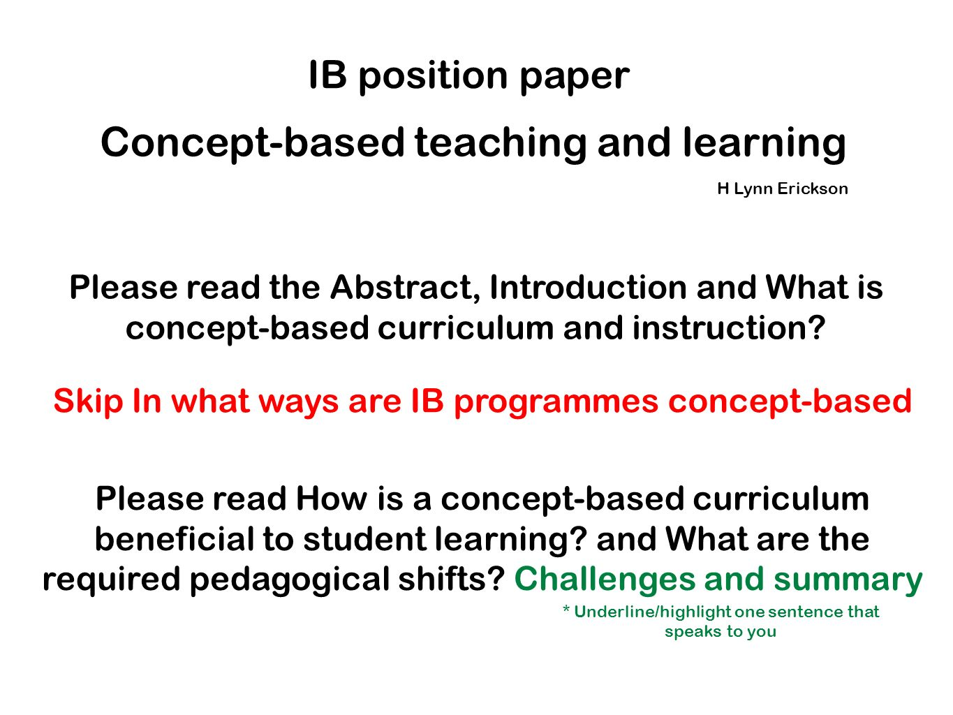Concept-based teaching and learning