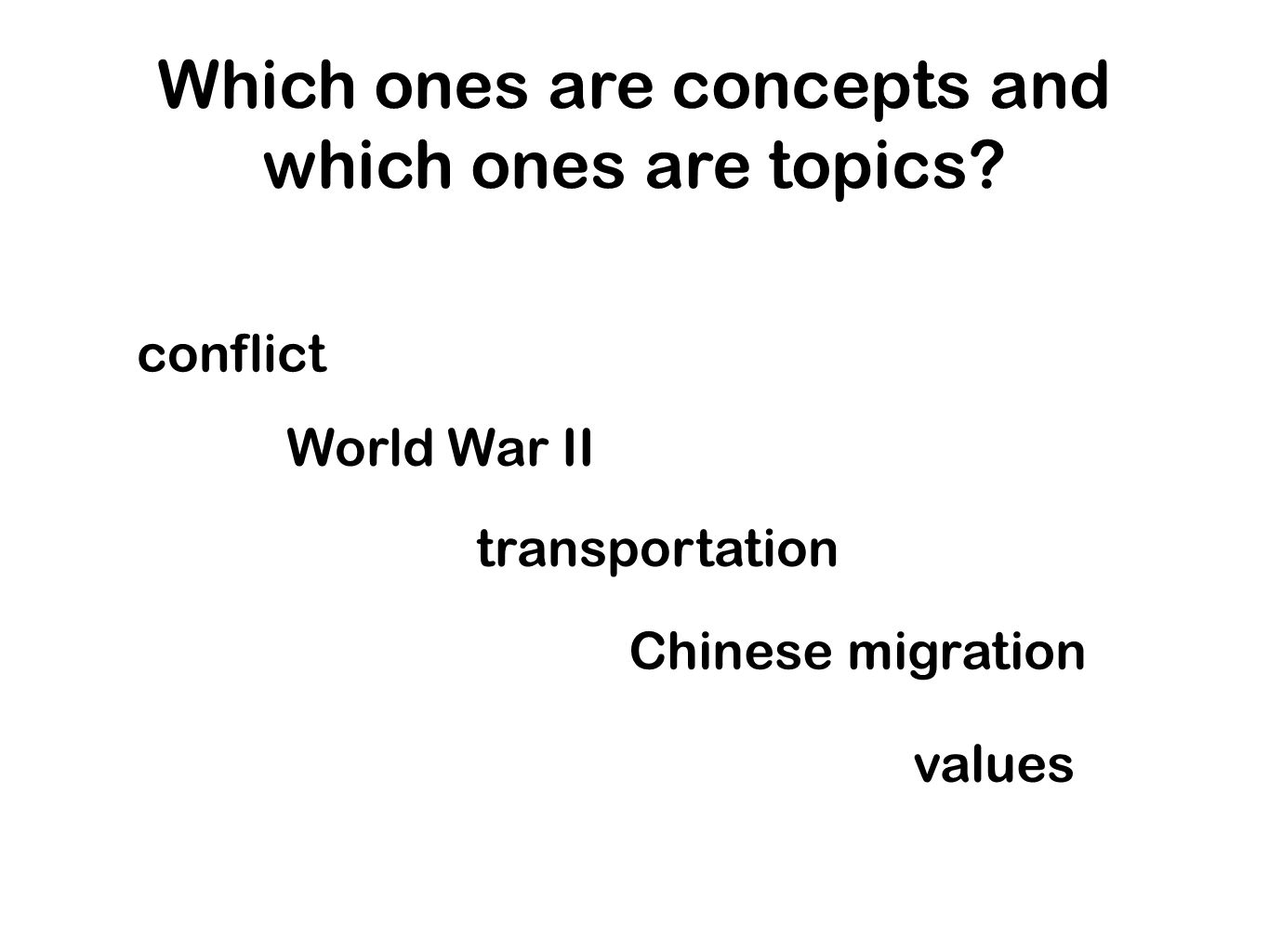 Which ones are concepts and which ones are topics