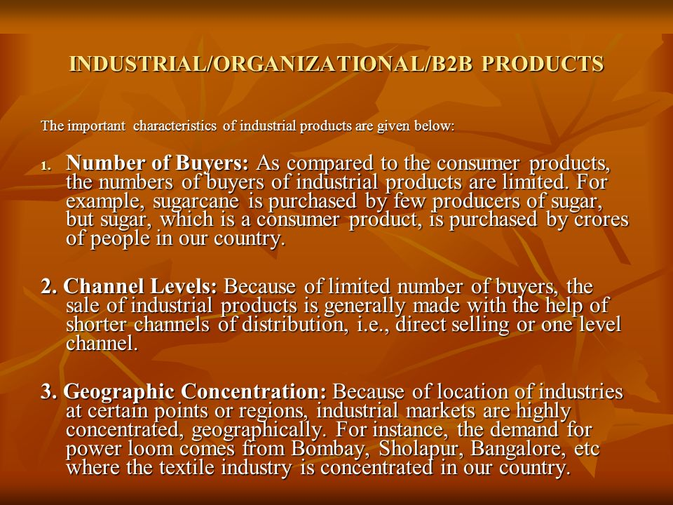 INDUSTRIAL/ORGANIZATIONAL/B2B PRODUCTS