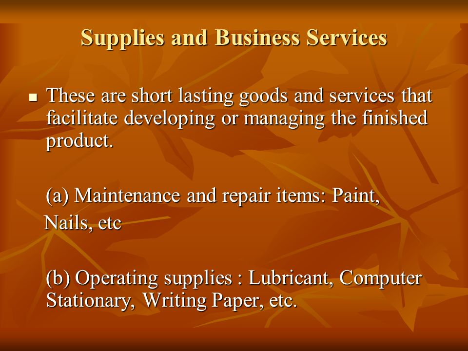 Supplies and Business Services