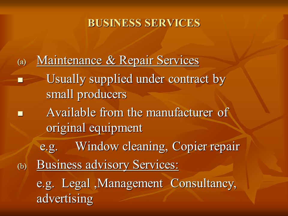 Maintenance & Repair Services