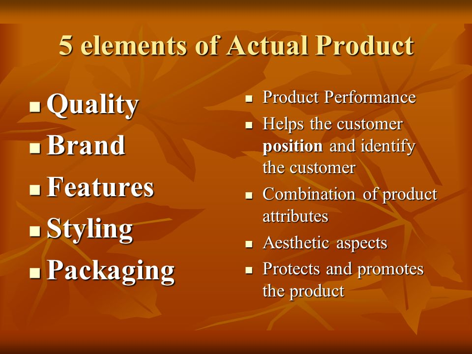 5 elements of Actual Product