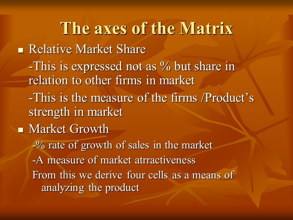 The axes of the Matrix Relative Market Share