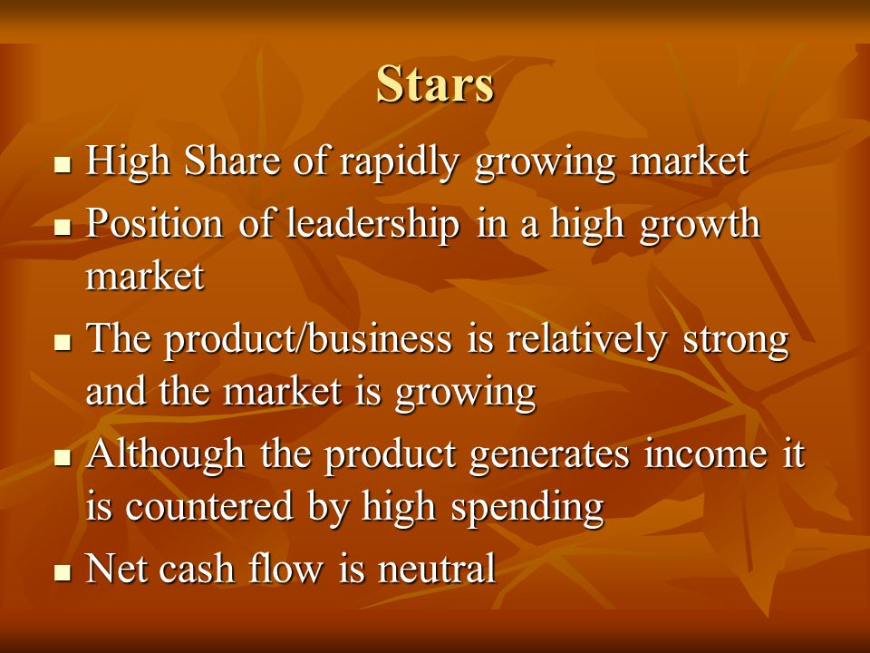 Stars High Share of rapidly growing market