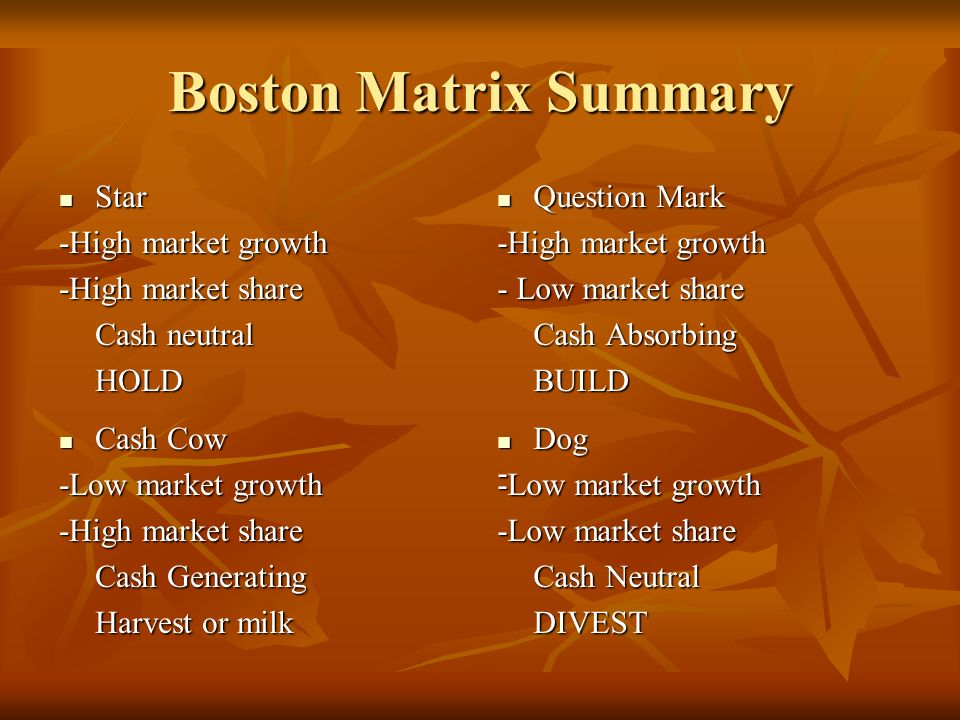 Boston Matrix Summary Star -High market growth -High market share