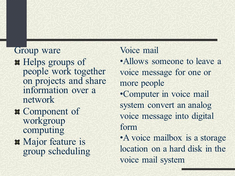 Component of workgroup computing