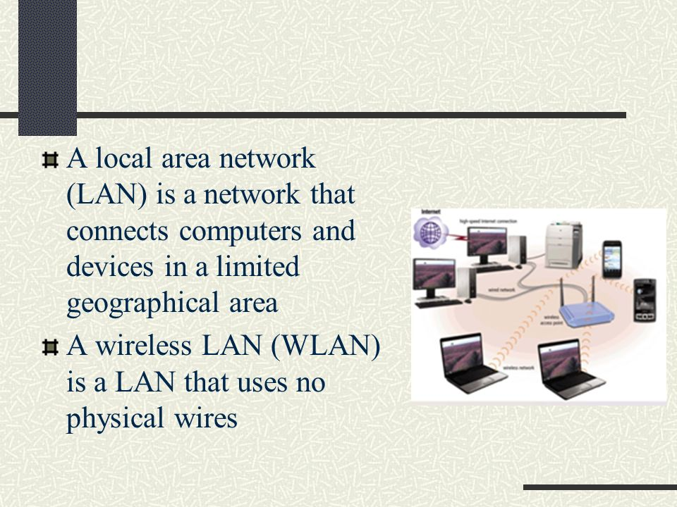 A local area network (LAN) is a network that connects computers and devices in a limited geographical area