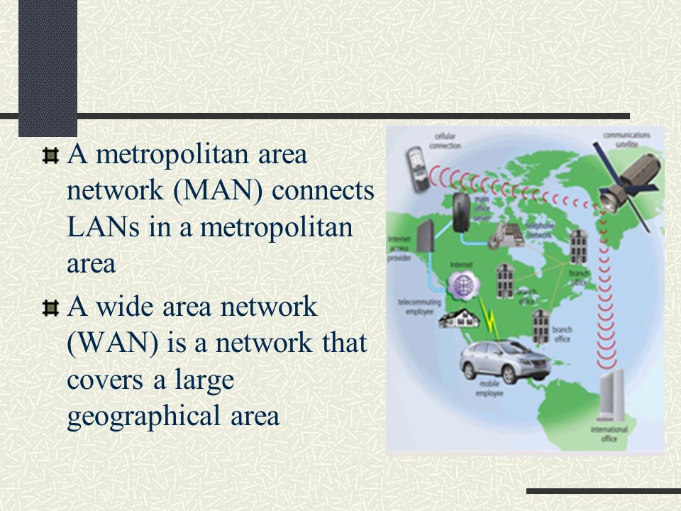 A metropolitan area network (MAN) connects LANs in a metropolitan area