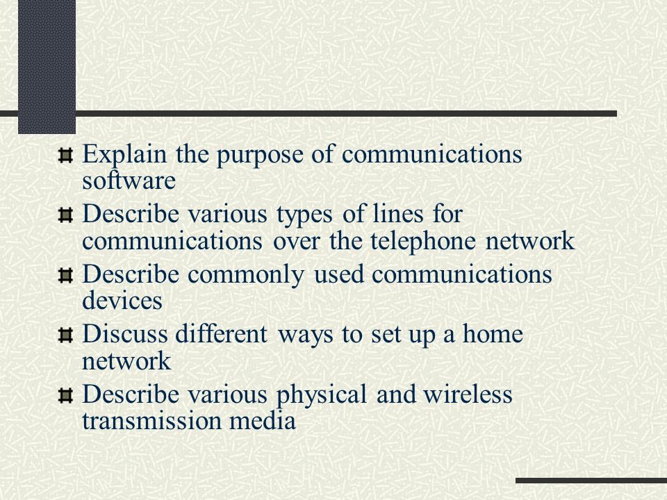 Explain the purpose of communications software