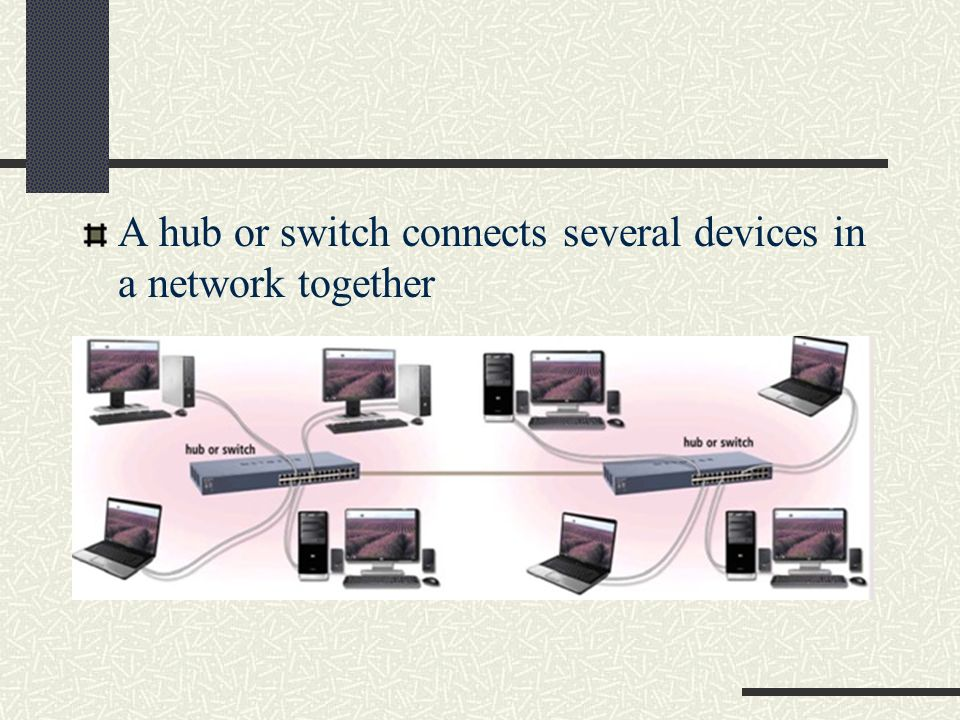 A hub or switch connects several devices in a network together