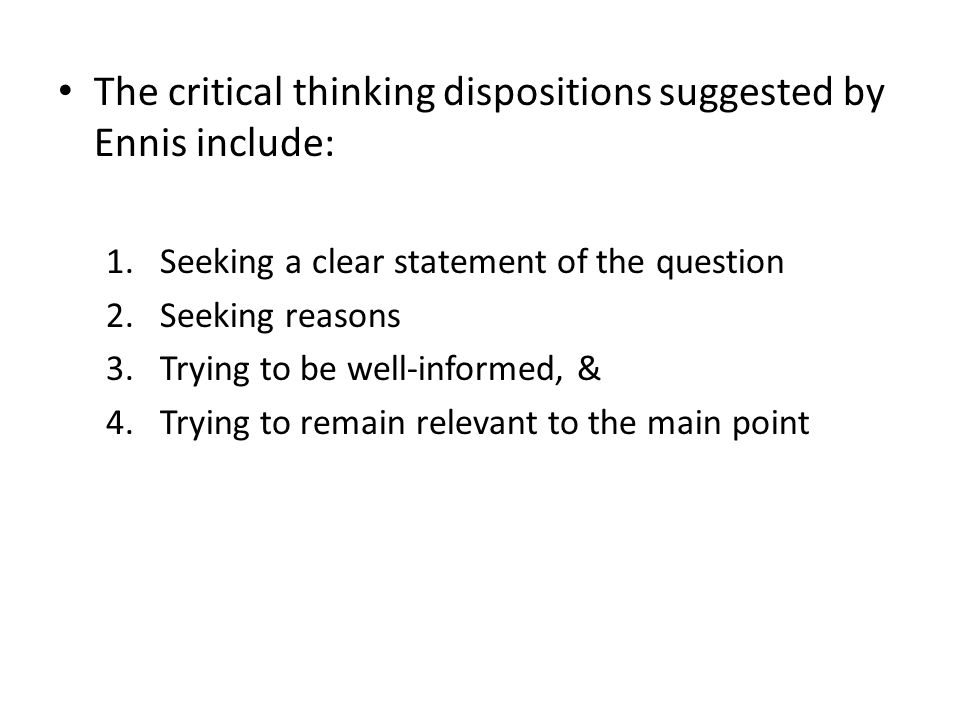 a taxonomy of critical thinking dispositions and abilities ennis