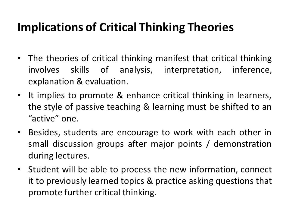 critical thinking paper — draft and self-evaluation 2 This lecture will guide you toward the draft of your critical evaluation essay  the critical thinking goal: objectivity (reasoning over feeling).