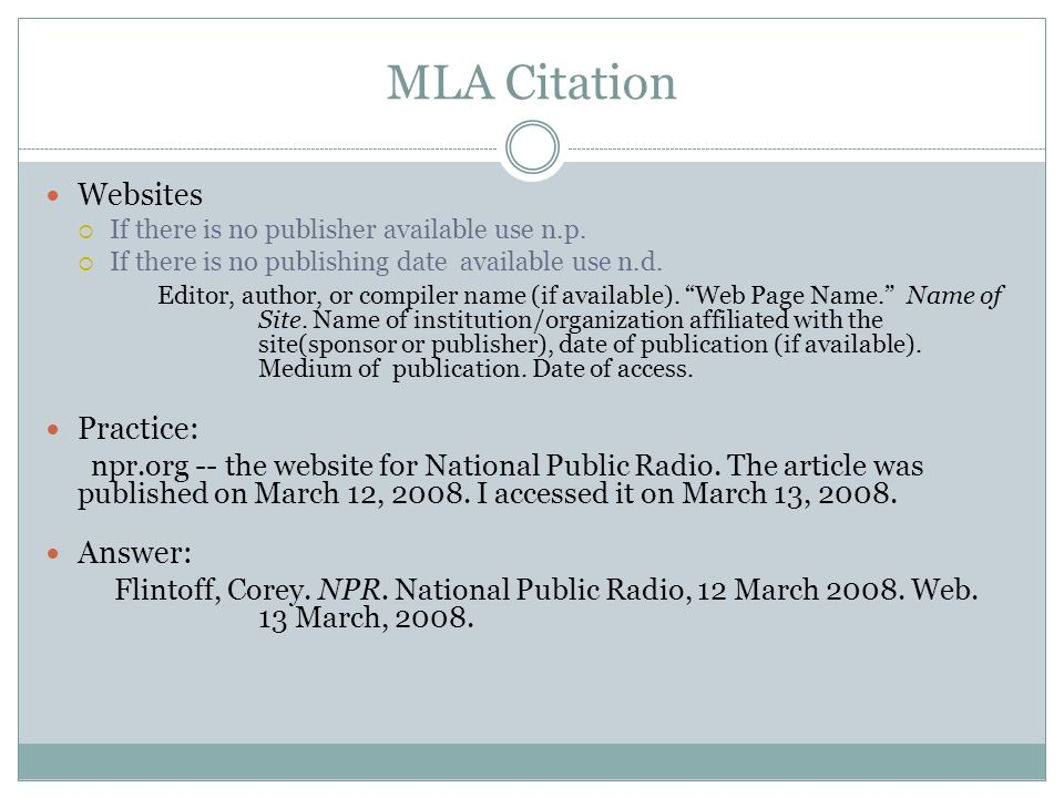 mla format citation from website Mla (modern language association) style is most commonly used to write papers and cite sources within the liberal arts and humanities this resource, updated to reflect the mla handbook (8th ed), offers examples for the general format of mla research papers, in-text citations, endnotes/footnotes, and the works cited page.