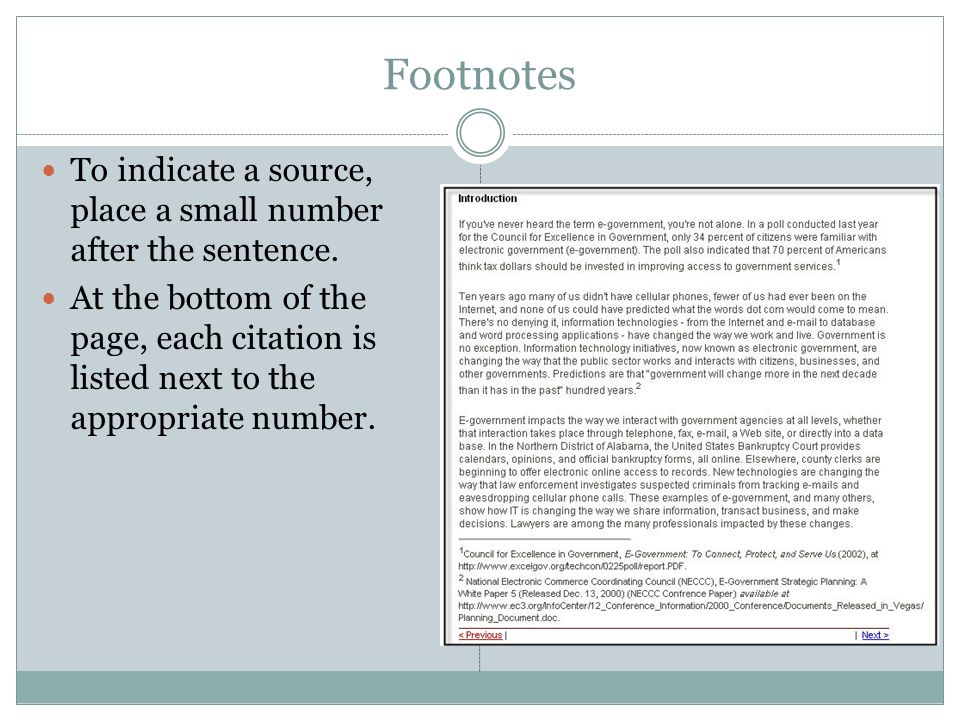 endnotes for a research paper Sample paragraph with footnotes and a bibliography  no 1 indicates the proper citation to use for the first footnote to a source in your paper the 2.
