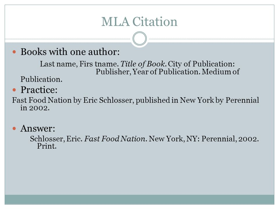 Mla style book citation