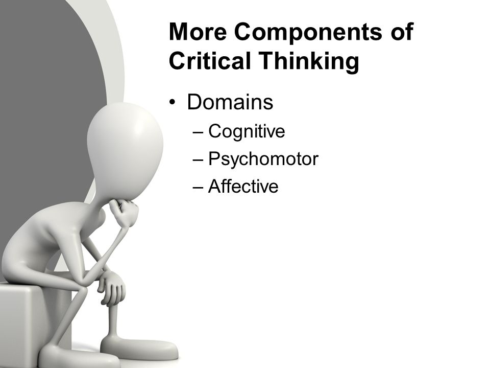 critical thinking components Critical thinking is a widely used term that includes skills in applying, analyzing   quired course work in critical thinking as a valuable component of the general .