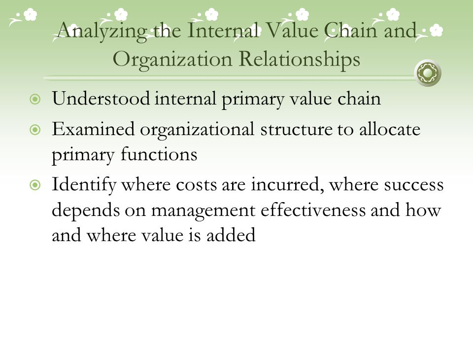 organizational structure and the value chain Chapter 10 quiz one of the disadvantages of a decentralized structure  making those organizational units performing strategy-critical value chain.