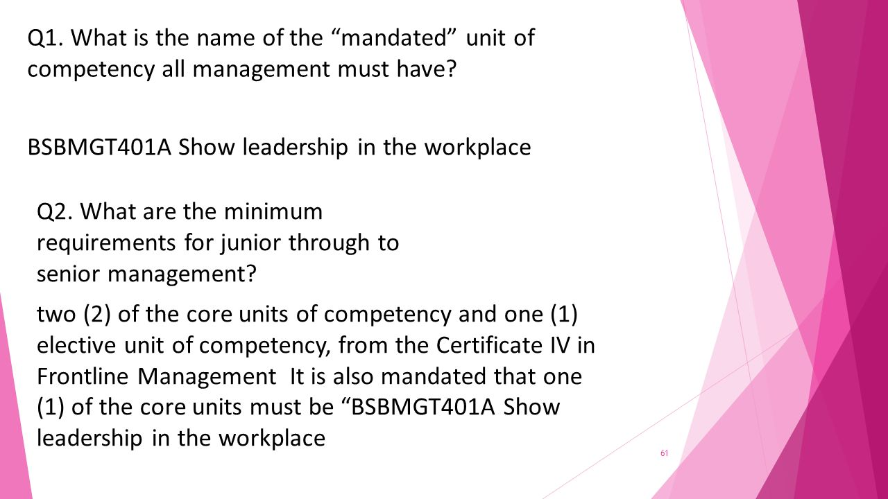 Provide training through instruction and demonstration of work what is the name of the mandated unit of competency all management must have xflitez Gallery