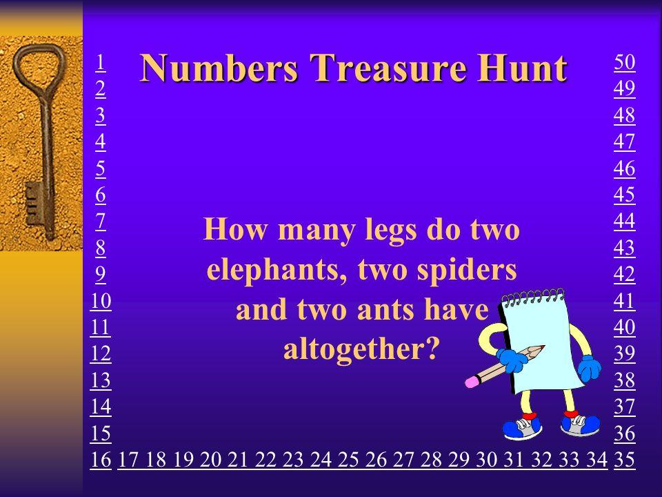 Numbers Treasure Hunt 1. 2. 3. 4. 5. 6. 7. 8. 9. 10. 11. 12. 13. 14. 15. 16. 50. 49.